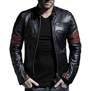 Garmadian Black Pu Leather Jacket For Men, boys
