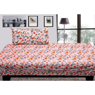 Designer Cotton Single Bed Sheet With 1 Pillow Cover