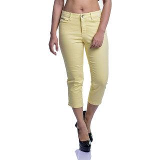 Timbre Women Cotton Lycra 3/4th Yellow Capri