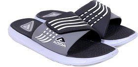ADDA COMFORTABLE BLACK /GREY COLOR SLIPPERS FOR MEN