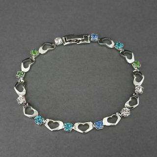JewelMaze Multi Colour Austrian Stone Heart Bracelet-1400525