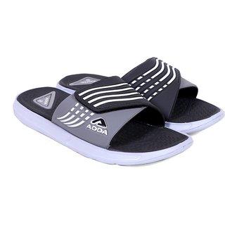 ADDA COMFORTABLE BLACK /GREY COLOR SLIPPERS FOR MEN
