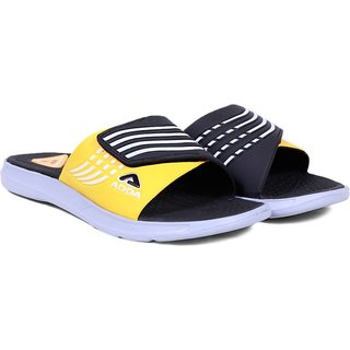 ADDA COMFORTABLE BLACK / YELLOW COLOR SLIPPERS  FOR MEN