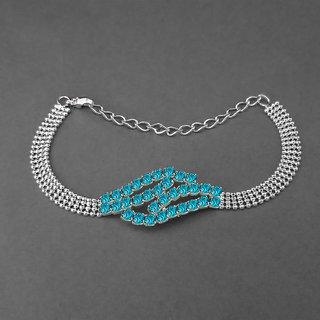 JewelMaze Silver Plated Blue Austrian Stone Bracelet-1401711