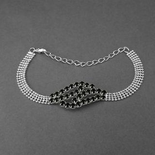 JewelMaze Black Austrian Stone Silver Plated Bracelet-1401712