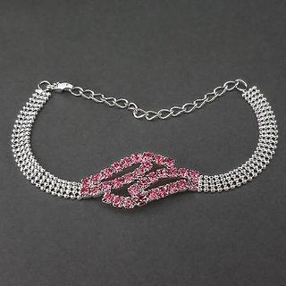JewelMaze Pink Austrian Stone Silver Plated Bracelet-1401713