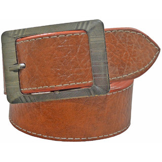 Sunshopping men's tan leatherite needle pin point buckle belt (Synthetic leather/Rexine)