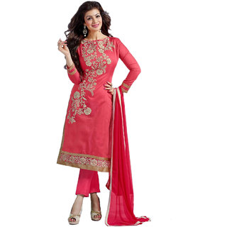 SHOPONBIT Present Resham Embroidery and thread work Chanderi cotton Semi-Stitched Salwar suit for women's.(SHDG-5307)