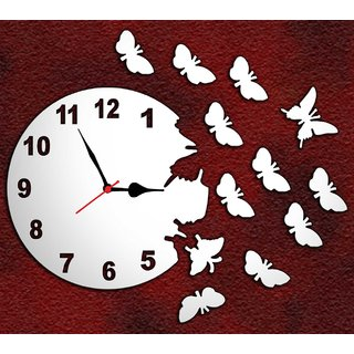 3d designer mirror butterfly non ticking and silent wall clock