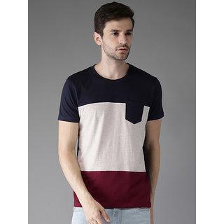 Stylesmyth Multicolor Blocked Round Neck T-shirt