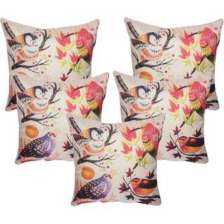 Vinayaka Multicolor New Birds Group Design Jute Fabric Cushion Covers 16 X 16 (Set Of 5)
