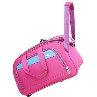 Buy Travel Soft Case Luggage Bag Pink Duffel Bag For Holiday 2 Wheels  Traveling Bag 24 INCH-113 Online - Get 50% Off 65efb3892b3af
