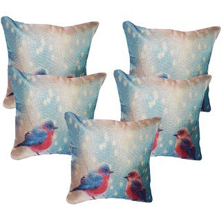 Vinayaka MultiColor New Baby Birds Design Jute Fabric Cushion Covers 16 X 16 (Set Of 5)