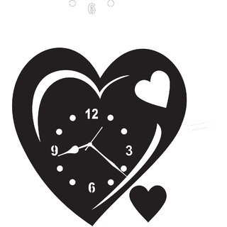3d black heart non ticking and silent wall clock