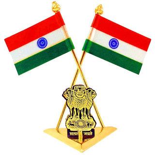 STAR SHINE Multicolor Indian Car Dashboard TRIANGULAR GOLDEN BASE DOUBLE FLAG For Honda Amaze