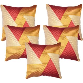 Vinayaka Multicolor New Geometric Design Synthetic Cotton Fabric Cushion Covers 16 X16 (Set Of 5)