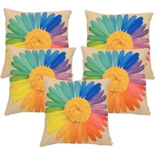 Vinayaka Multicolor New Sunflower Design Jute Fabric Cushion covers 16'' X 16'' (Set of 5)