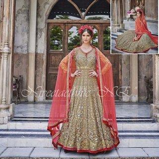 Long Anarkali Salwar Kameez Designer Bridal Shalwar Suit Complete Bridal Look
