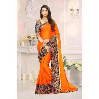 Indian Style Sarees New Arrivals Latest Women's Orange Georgette Printed Border Bollywood Designer Saree With Blouse