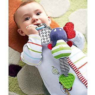 iDream Elephant Style Baby Rattle Teether Multi-Functional Soft Plush Toy Doll with Music for Infant Newborn