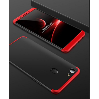 Kartik 3 in 1 360 Full Body Protection Original Double Dip Case Matte Hard Back Case Cover for Vivo V7 plus (Black Red)