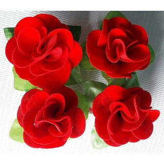 Deo Light Red rose Flower Hair Clips Pack of 4 pieces looks like Natural Flower Latest Desing
