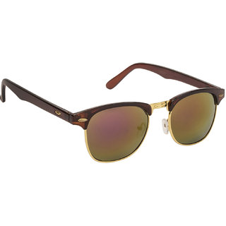 ced3804f17f Buy Arzonai Ultimate Mirrored Clubmaster Shape Brown-Multi-Coloured UV  Protection Sunglasses For Men   Women  MA-094-S12   Online - Get 84% Off
