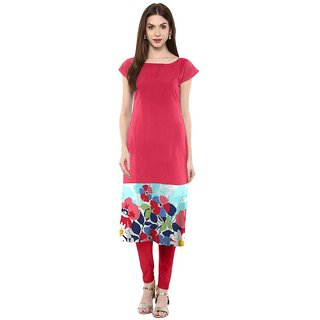 Aiza collection pink digital print designer stitched fox crepe designer kurti