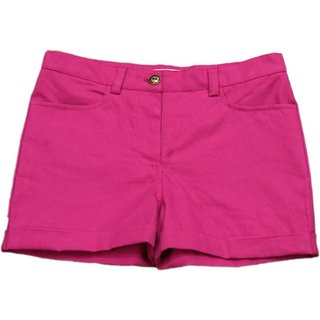 Short For Girls Solid Cotton Linen Blend, 100Cotton (Hot Pink, 2 years)