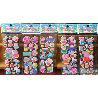 iDream Cute Mini 3D Peppa Pig Stickers (Pack of 5)