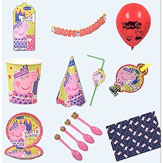 iDream Peppa Pig Theme Party Supplies (Combo Pack) for 10 Guests