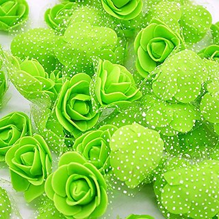 iDream 3.5cm Artificial Rose Flowers for Wedding Bride Bouquet Decoration - Pack of 50 (Green)