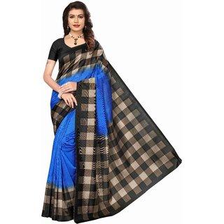 Bhagalpuri Art Silk Blue With Geometric Print Saree