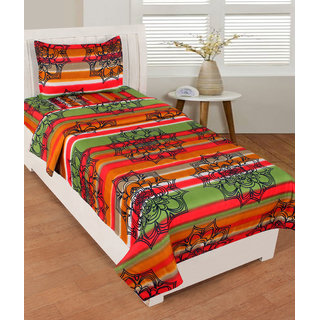 BSB Trendz Like Cotton  Rust & Green  Clour With Spider Net   Single Bedsheet With 1 Pillow Cover GSM-150 To 180, TC-180   Size-90x60 Inches Pillow Size-17x27 Inches