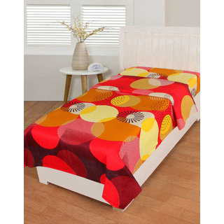 BSB Trendz Cotton Large Circle printed Yellow and Red  Printed 180 Tc with 150-180 GSM  Single Bedsheet Or Topsheet Without Pillwo Cover Bedsheet Use For Diwan Bedsheet Also Size-90X60 Inches 228x152 Cm