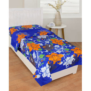 BSB Trendz Cotton Blue Bedsheet with White and Rust Flower   Printed 180 Tc with 150-180 GSM  Single Bedsheet Or Topsheet Without Pillwo Cover Bedsheet Use For Diwan Bedsheet Also Size-90X60 Inches 228x152 Cm