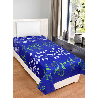 BSB Trendz Cotton Solid Royal Blue Bedsheet With white Small Flower   Printed 180 Tc with 150-180 GSM  Single Bedsheet Or Topsheet Without Pillwo Cover Bedsheet Use For Diwan Bedsheet Also Size-90X60 Inches 228x152 Cm