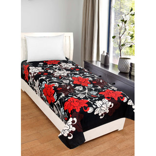 BSB Trendz Cotton Black bedsheet With White and Red Flower   Printed 180 Tc with 150-180 GSM  Single Bedsheet Or Topsheet Without Pillwo Cover Bedsheet Use For Diwan Bedsheet Also Size-90X60 Inches 228x152 Cm