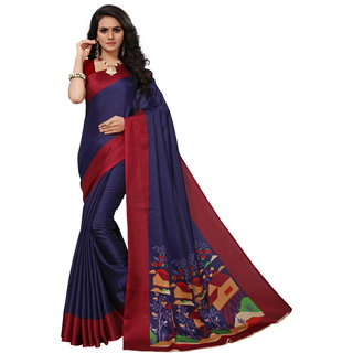 Fabwomen Sarees Floral Print Blue And Maroon Coloured Khadi Silk Fashion Party Wear Women's Saree/Sari With Blouse Piece.