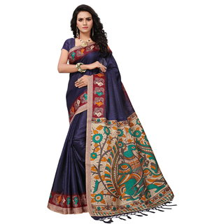 Fabwomen Sarees Floral Print Multicolor And Blue  Coloured Khadi Silk With Tessels Fashion Party Wear Women's Saree/Sari With Blouse Piece.