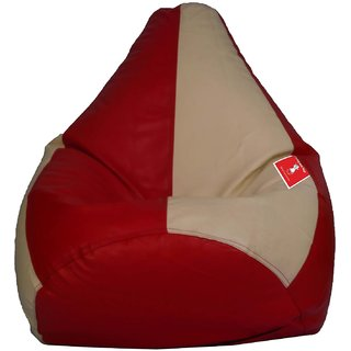 Home berry Bean Bag CREAM RED L SIZE Without Fillers - Cover Only