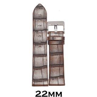 Kolet 22mm Croco Leather Watch Strap (Brown)