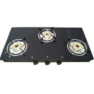 Gas Stove Star Aqua Fresh Vetro Glass Top 3 Burner Gas Stove (703 CT VETRO BLK)