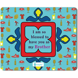 Indigifts Rakhi Gift For Brother Digital Printed Mouse Pad 8 5x7 Inches Birthday