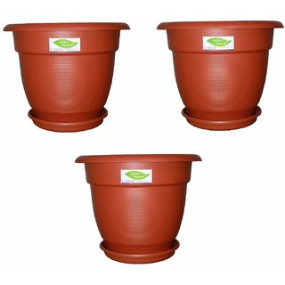 12 Elegance Gardening Planters/Pots with Bottom Trays - Terracotta Color Pack of 3