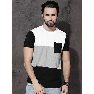 Stylesmyth Mens Black and White Cotton Blend Round Neck Half Sleeve T-shirt