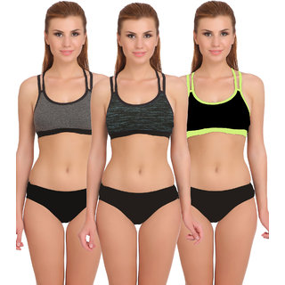ea5ac9a5ab944 Buy Fashion Comfortz Sports Multicolor Sports Bra and Panty Set Online - Get  79% Off