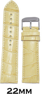 Kolet 22mm Croco Leather Padded Watch Strap (Cream)
