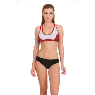 0ada842e15b05 Buy Fashion Comfortz Sports Maroon Sports Bra and Panty Set Online - Get  75% Off