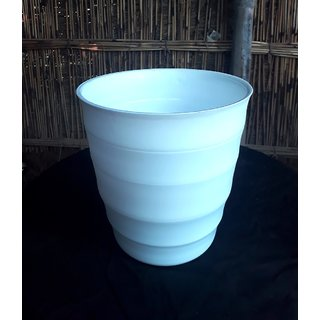 FLORA BONSAI- PLASTIC POTS FOR GARDENING -10 INCHES -WHITE- SET OF 2